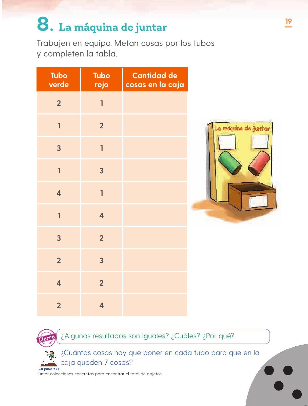 Matemáticas Primer grado página 19