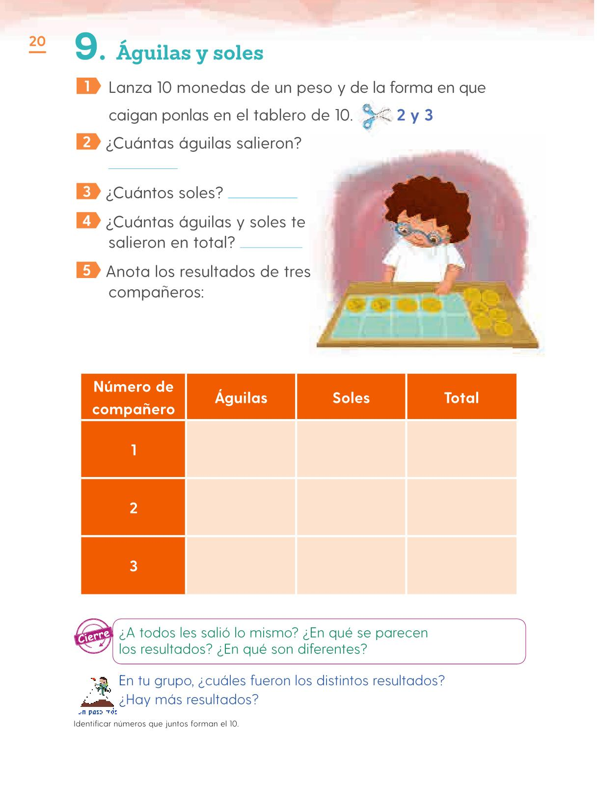 Matemáticas Primer grado página 20