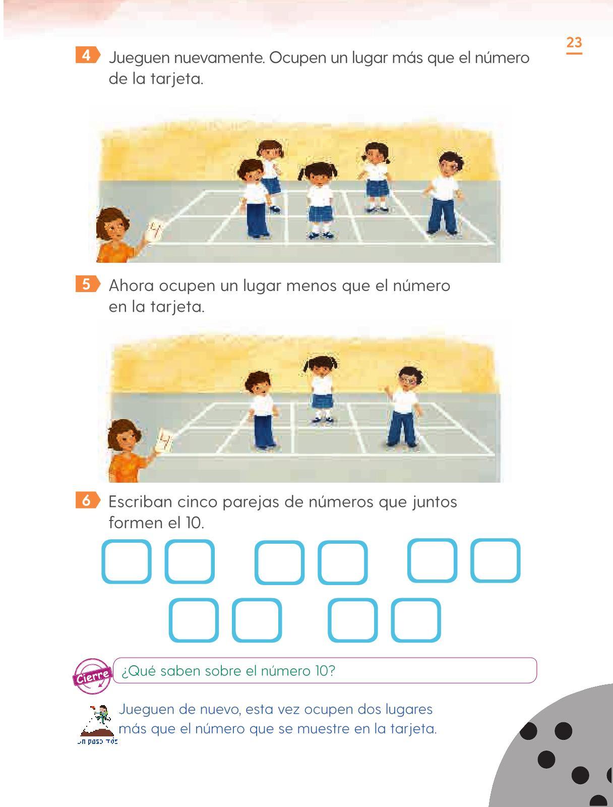 Matemáticas Primer grado página 23